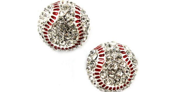 Sport Baseball Crystal Rhinestone 14mm Drop Stud Fashion Earrings