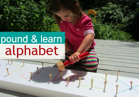 Pound and Learn Alphabet: Simple fine motor and alphabet activity for kids.