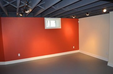 Painted Exposed Rafters In Basement Basement Ceiling Basement Design Unfinished Basement Ceiling