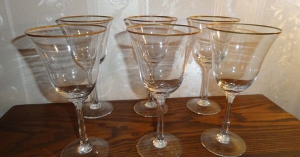 Vintage lenox crystal intrigue pattern gold rim water goblet stemware glasses set 6 crystals - Lenox gold rimmed wine glasses ...