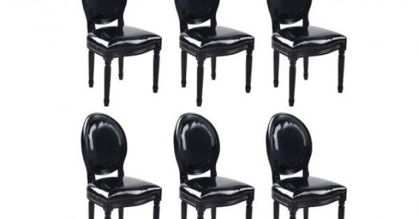 Lot de 6 chaises louis xvi pas cher simili noir brillant prix promo chaises v - Chaises louis xvi pas cher ...