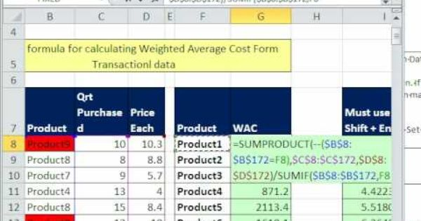 Excel Magic Trick 476 Sumproduct Function For Weighted Average Cost Fro Weighted Average Excel Microsoft Excel