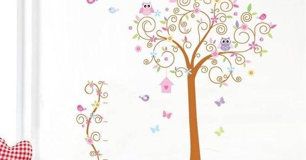 Muursticker sierlijke boom met uilen, vlinders en vogels. Leuke ...