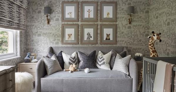Gray Nursery Daybed with Baby Animals Photographs, Transitional, Nursery |  Tiny Tykes | Pinterest | Nursery daybed, Baby animals and Daybed - Gray Nursery Daybed With Baby Animals Photographs, Transitional
