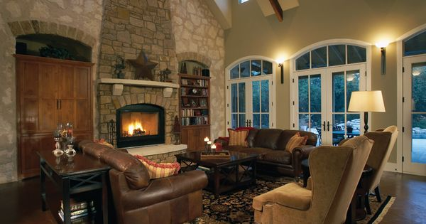 Cozy Living Room With Stone Wall And Big Vaults Plan