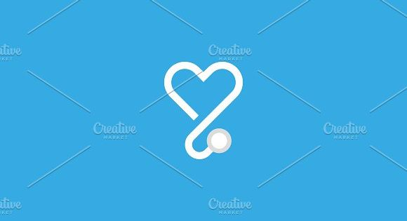 Heart stethoscope vector logotype. Linear medical logo design