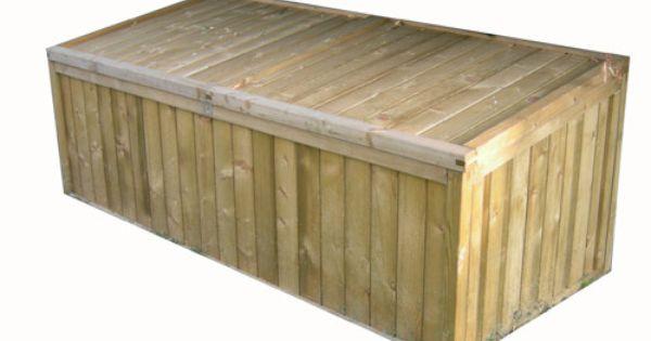 Mobilier exterieur coffre de rangement naterial en pin for Mobilier exterieur bois