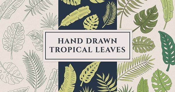 Hand Drawn Tropical Leaves – perfect for fabric, stationery, cards, invitations