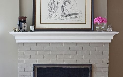 Grey painted fireplace with white mantle