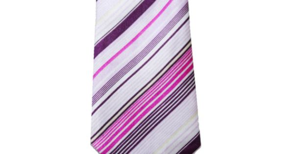 Mens Pink and Purple Striped Modern Skinny Necktie by TiestheKnot, $8.99