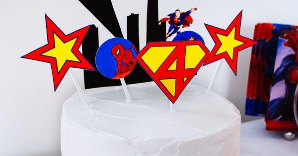 Easy super hero birthday cake with printable cake toppers - Batman, Superman,