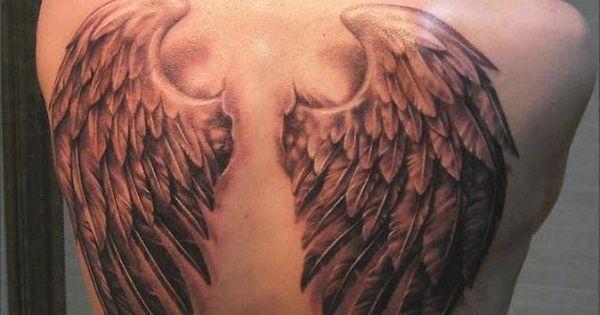 Realistic 3D angel wings tattoo on back | Tattoos | Pinterest ...