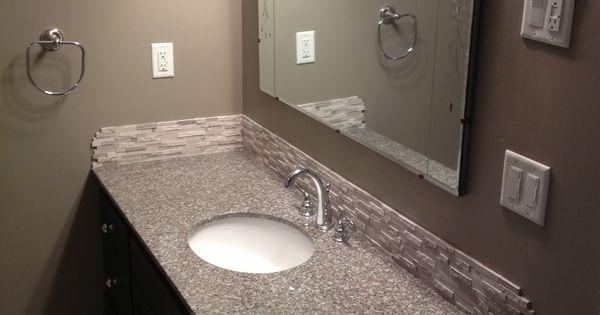 Diy Weekend Bathroom Makeover Prefab Granite Countertop This Is Burlywood Stacked Stone