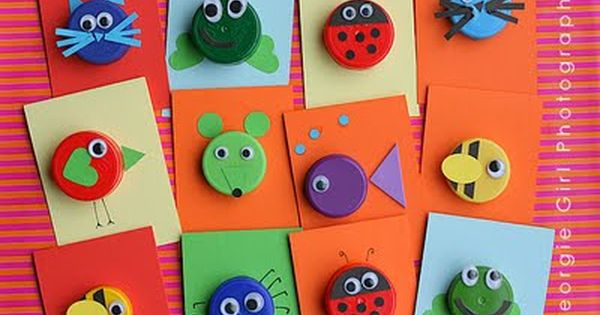 plastic bottle cap crafts | ... and Crafts) Plastic Bottle Cap Animals...