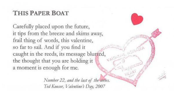 Image result for ted kooser - valentine poem