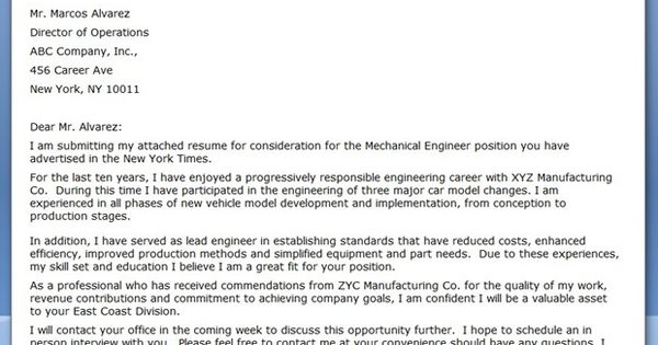 Cover Letter Mechanical Engineer Sample Creative Resume