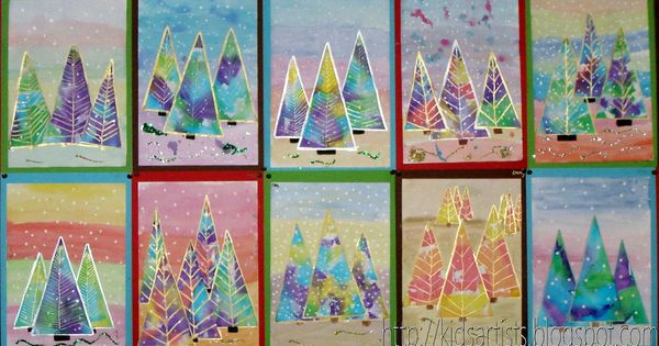 Paint a background for the Christmas trees with water paint. Use different