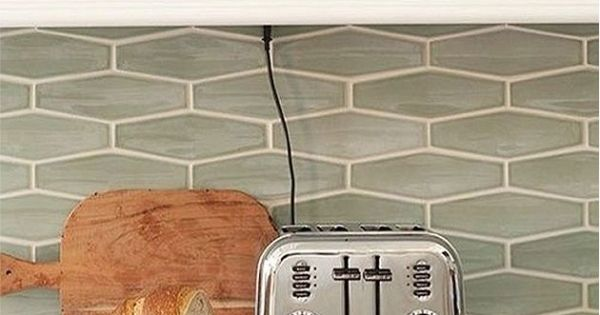 Sea Glass Tile Backsplash White Kitchen