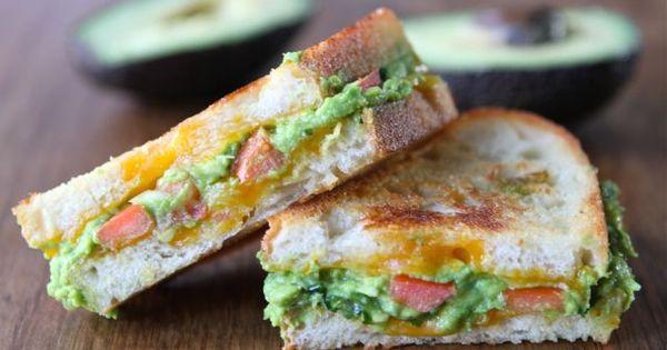 Guacamole Grilled Cheese Sandwich: guacamole (avocados, onion, garlic, jalapeno, cilantro, lime juice,