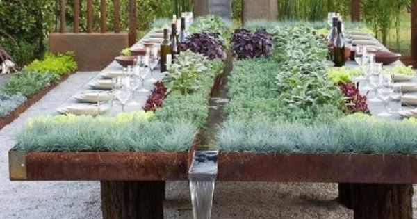 Modern Tables With Miniature Gardens And Grass Outdoor Gardens