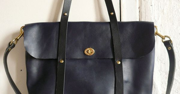 Handmade Bag - the midnight tote in black and navy by fluxproductions