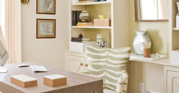 Gorgeous Rustic Wooden Desk And Zebra Print Office Chair In Traditional Home