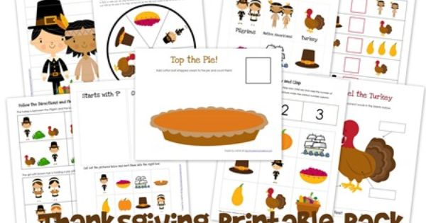 Thanksgiving printable pack for preschool and kindergarten | homeschoolcreations.net