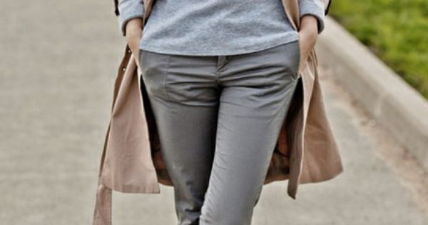 Trench Coat grey pants and silver heels trench silverheels