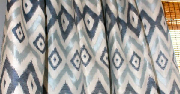 Navy Blue Light Blue And Ivory Ikat Curtain By