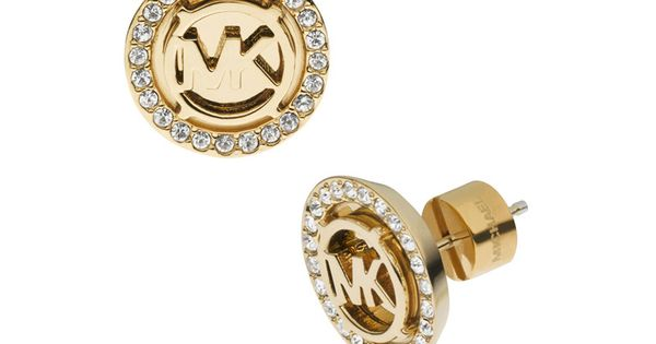 michael kors outlet Michael Kors Logo Pave Stud Golden Earrings In Our