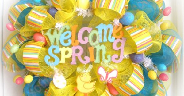 Welcome Spring Wreath don't like it as much as I want Spring...will