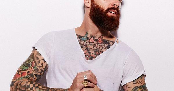 Levi stocke full thick dark red beard and mustache for Red beard tattoo