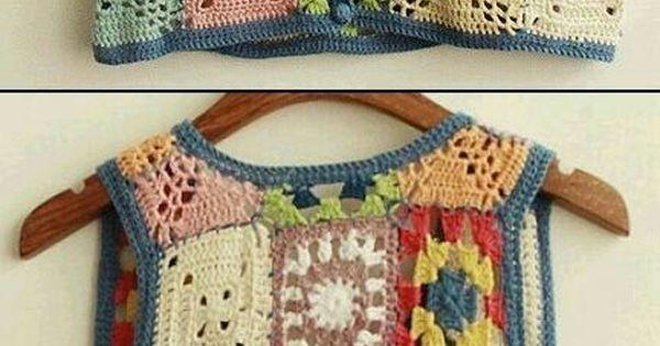Chaleco cuadraditos cuadrado colores multicolor - Cuadraditos de crochet ...