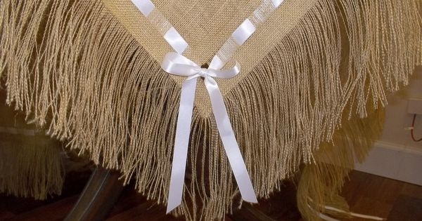 Burlap tablecloth with fringe and ribbon via etsy for Burlap ribbon craft ideas