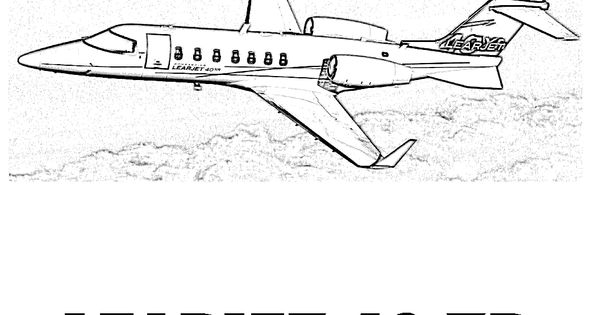 Cool LearJet 40 XR Airplane Coloring Page. You Can Print