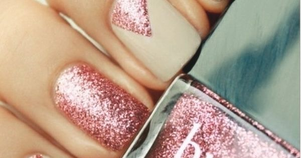 Cute nail design with nude and sparkly pink nail polish -PB