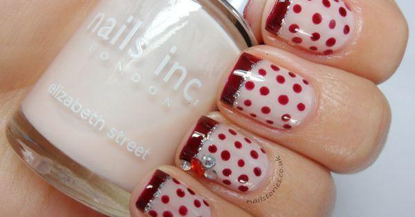 60's Red Polka Dot French nail art design