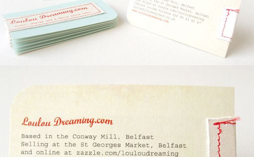Hand-stitched business cards designed by Louise Firinne, Loulou advertising graphic banner poster