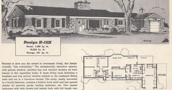 Vintage house plans mid century homes 1950s homes for 1950s council house floor plan