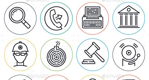 Law and Order Line Icons | Icons, Font logo and Icon set