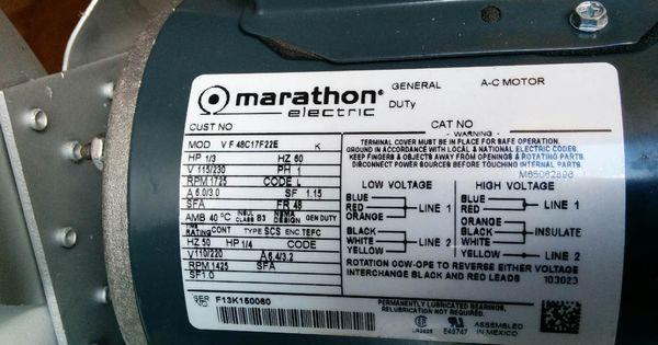 Marathon Electric Motor Wiring Diagram Problems In 2020 Marathon Electric Electric Motor Electricity