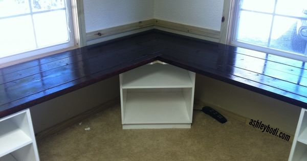 Diy L Shaped Desk Remove The Corner Shelf And Replace