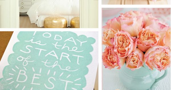 Color palette mint peach and gold deco mariage for Peach and gold bedroom