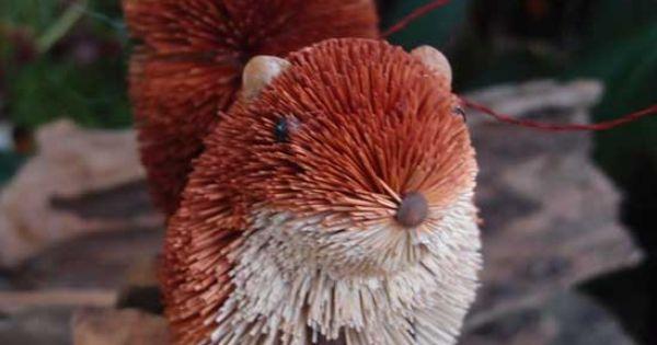 Bottle brush handmade red squirrel ornament myideasbedroom com