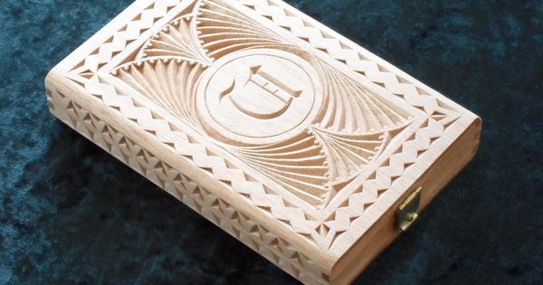 Upcycled cigar boxes chip carved box with