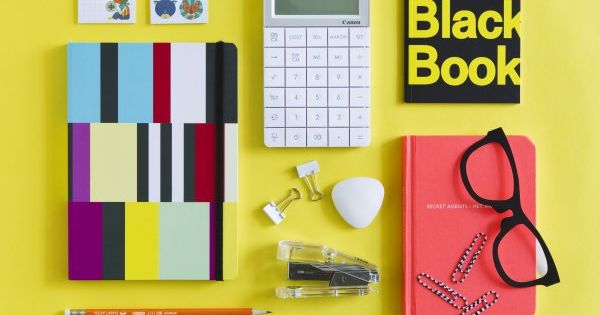 Bright colors and office supplies. Yes please!
