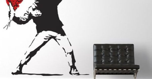 Banksy Throwing Flowers Large Wall Stickers Wall Decals Wall Transfers Flower Wall Stickers Banksy Wall Stickers Large Wall Stickers