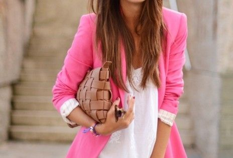Spring outfit - love the look especially her hair color