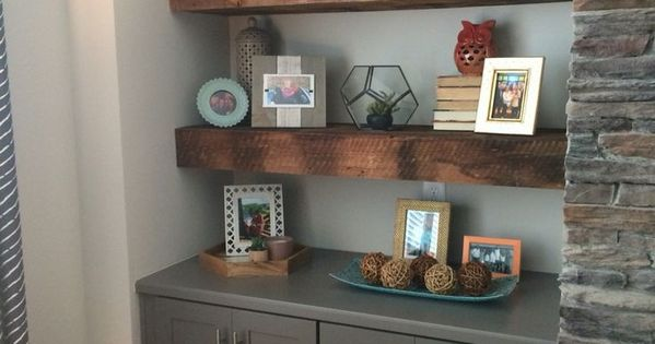 Our Beautiful Reclaimed Wood Floating Shelves Flanking