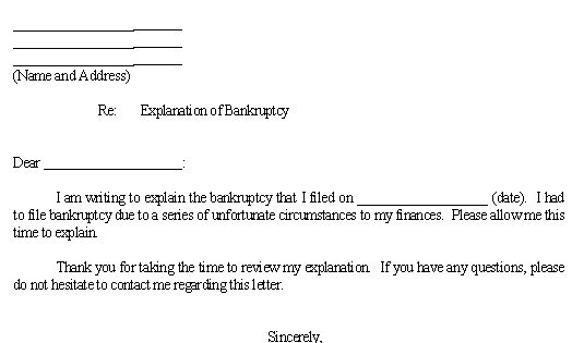 sample letter for explanation of bankruptcy template